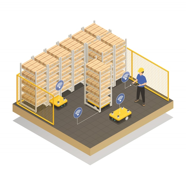 Smart industry robots isometric composition