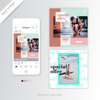 Smart instagram banner template summer design