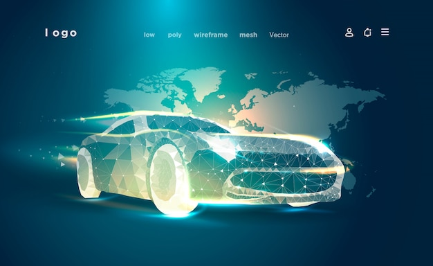 Smart or intelligent car. sport car on the background of the world map