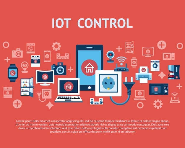 Smart internet of things infographic concept objects icon collection