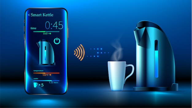 Smart kettle is on the table. smartphone controls smart kettle over wifi