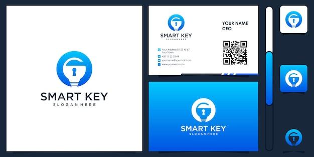 Smart key logo with business card design vector premium