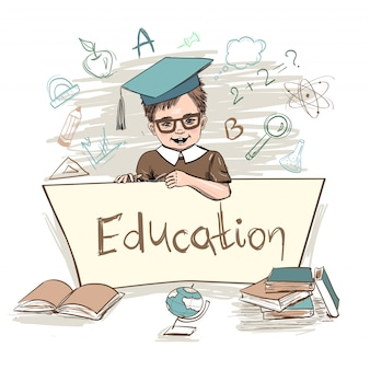 Smart kid holding board education