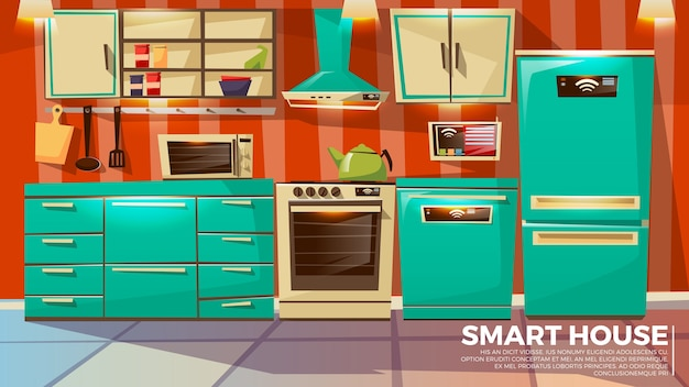 Умный интерьер кухни дома беспроводной беспроводной технологии управления.