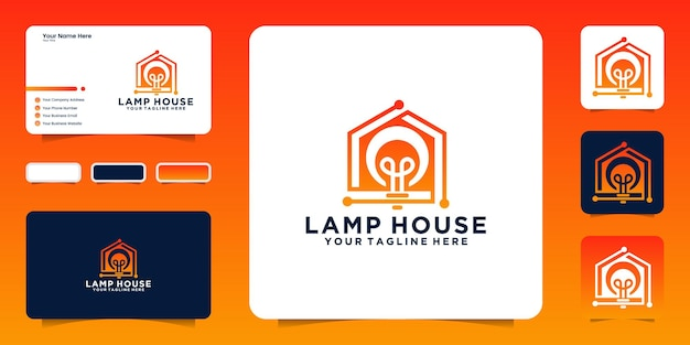 Smart lamp house logo and business card inspiration