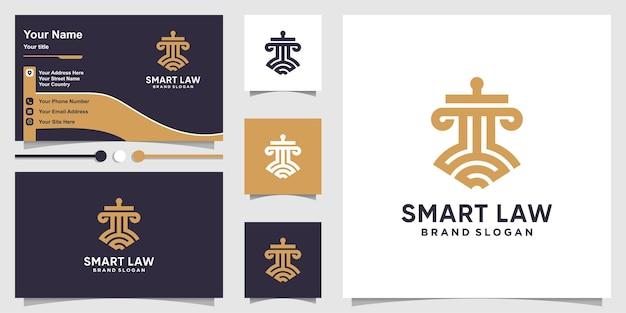 Шаблон логотипа smart law и дизайн визитной карточки с концепцией line art premium векторы