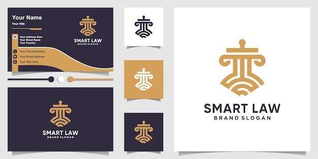 Smart law logo template and business card design with line art concept premium vector