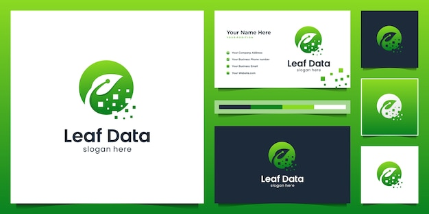 Smart leaf digital logo  template.