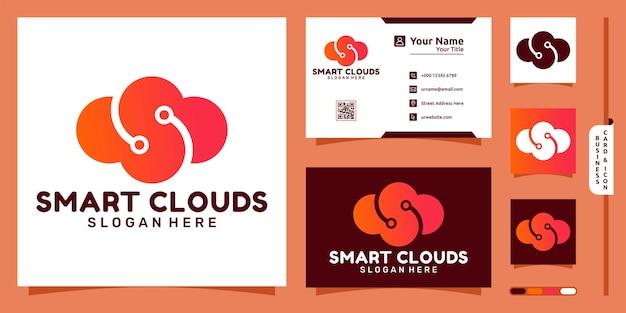 ノードのモダンなコンセプトと名刺デザインのスマートレターs雲のロゴ
