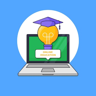 Smart light bulb with graduated toga hat out of laptop screen for digital online graduation concept vector illustration