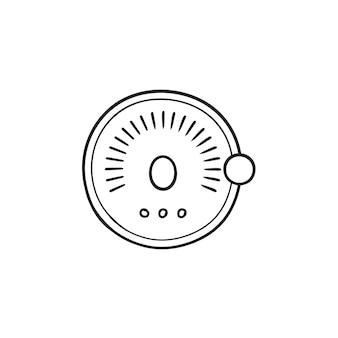 スマートロック手描きのアウトライン落書きアイコンセット。スマートオートロックシステム、音声制御ドアロックコンセプト