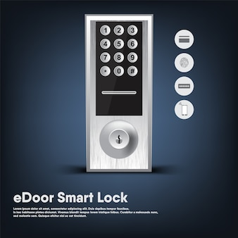 Smart lock of security electronic door for entry home, automatic intelligence digital technology key locked of modern door.