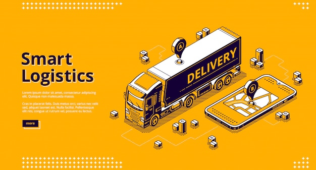 Smart logistics isometric landing, geo location