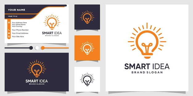 Умный логотип с концепцией идеи лампы и дизайном визитной карточки