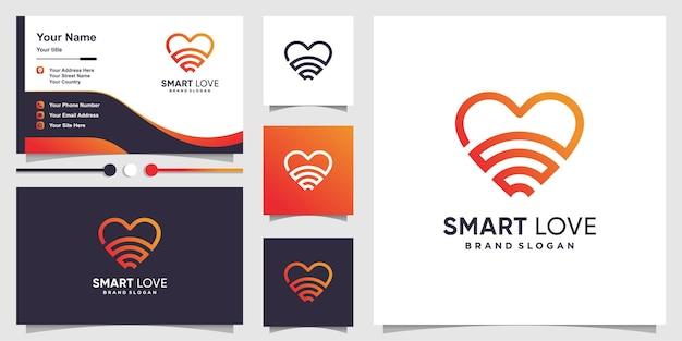 Шаблон логотипа smart love и дизайн визитной карточки с креативной концепцией premium векторы