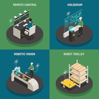 Smart manufacturing isometric concept