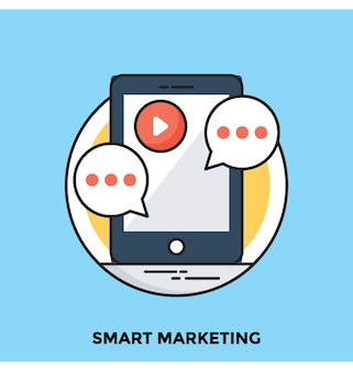Smart marketing flat vector icon