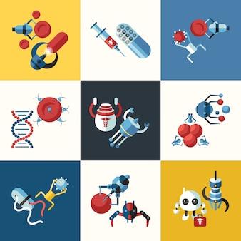 Smart medical nano robot implants icons collection