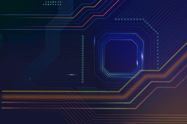 Vettore di sfondo tecnologia microchip intelligente in blu sfumato