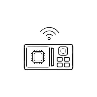 스마트 전자 레인지 손으로 그린 개요 낙서 아이콘. 사물의 인터넷, 기계 학습 개념