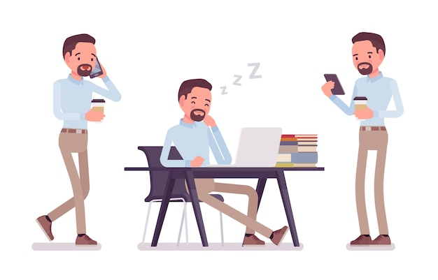 Smart middle aged man in buttoned up shirt and camel skinny chino trousers, with coffee, nap at desk. business stylish workwear trend and office city fashion.   style cartoon illustration