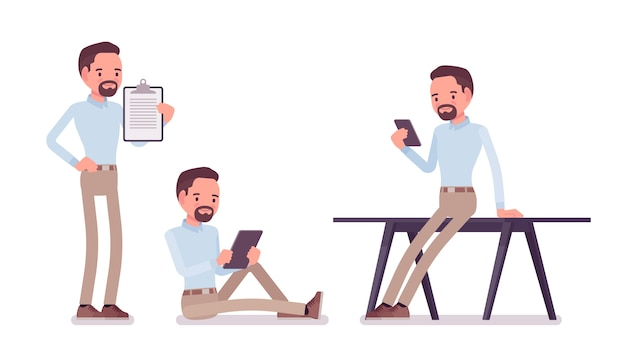 Smart middle aged man in buttoned up shirt and camel skinny chino trousers, working with gadgets. business stylish workwear trend and office city fashion.   style cartoon illustration