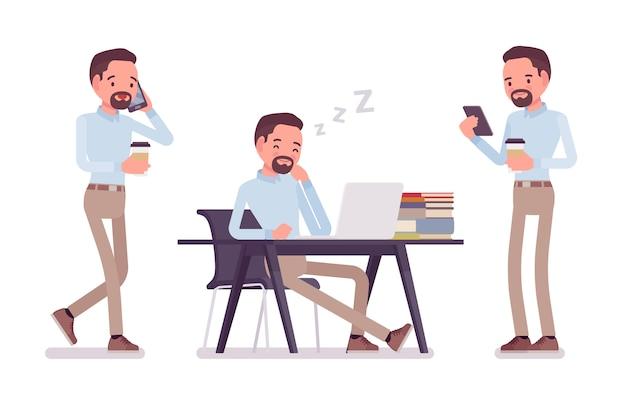 スマートな中年男性がボタンを押したシャツとキャメルのスキニーチノパンツで、コーヒーを飲みながら机で昼寝をします。ビジネススタイリッシュな作業服のトレンドとオフィスシティのファッション。スタイル漫画イラスト
