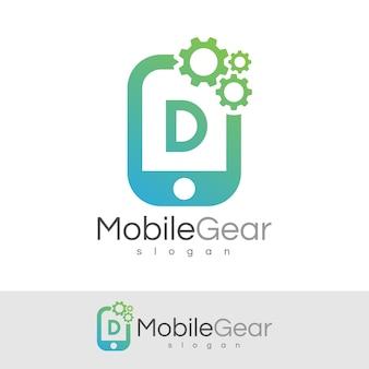 スマートモバイルの初期レターdロゴデザイン