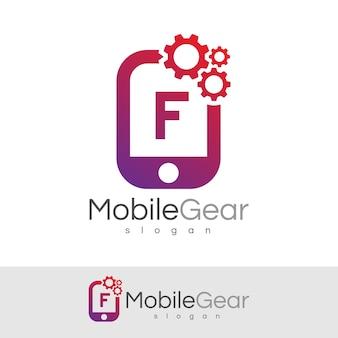 スマートモバイルの初期の手紙fロゴデザイン