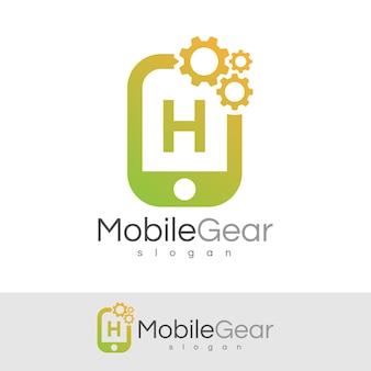 スマートモバイルの初期の手紙hロゴデザイン