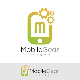 スマートモバイルの初期の手紙mロゴデザイン