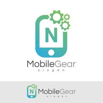 スマートモバイルの初期の手紙nロゴデザイン