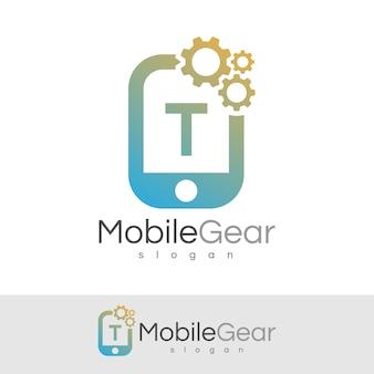 スマートモバイルの初期の手紙tロゴデザイン