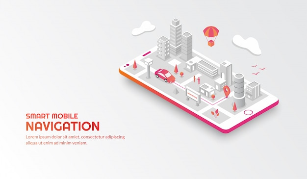Smart mobile navigation concept with the connected isometric city