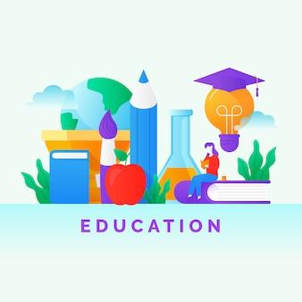 スマート現代教育のコンセプトデザインのベクトル図