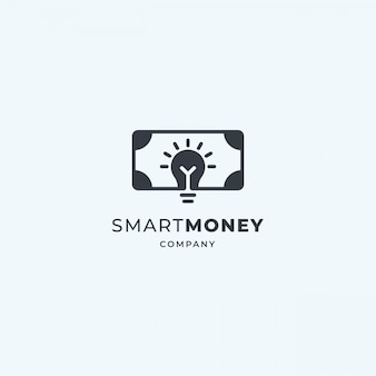 Smart money logo. luminous light bulb with banknote. crowdfunding, saving, investment design idea.
