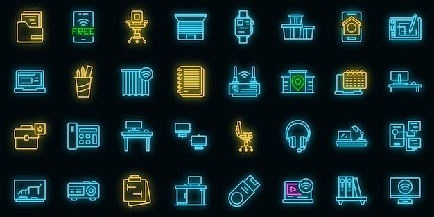 Набор иконок смарт-офисное пространство. наброски набор умных офисных пространств векторных иконок неонового цвета на черном