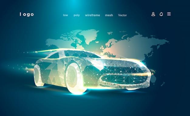 Умная или умная машина. спортивный автомобиль на фоне карты мира