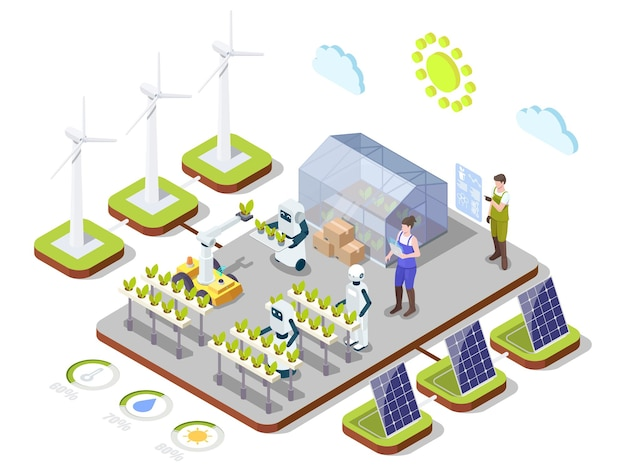 Smart organic farming vector isometric infographic ai technologies automation clean energy in agricu...