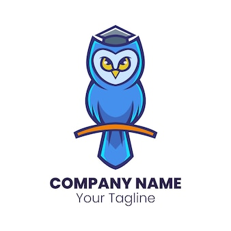Smart owl mascot logo design vector