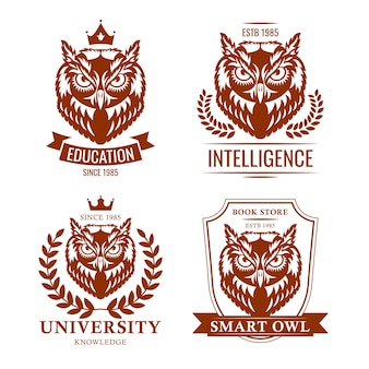 Smart owl set. school or college old emblem, educational heraldry, symbol of knowledge. vector illustrations collection isolated on white background for education