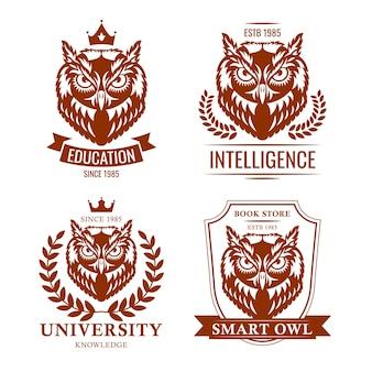 スマートフクロウセット。学校や大学の古いエンブレム、教育紋章、知識の象徴。教育のための白い背景で隔離のベクトルイラストコレクション