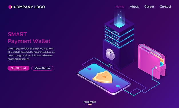 Smart payment wallet isometric landing web banner