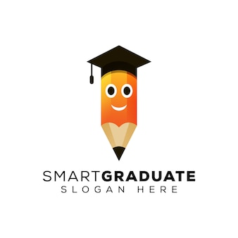 Smart pencil logo, creative education logo design template