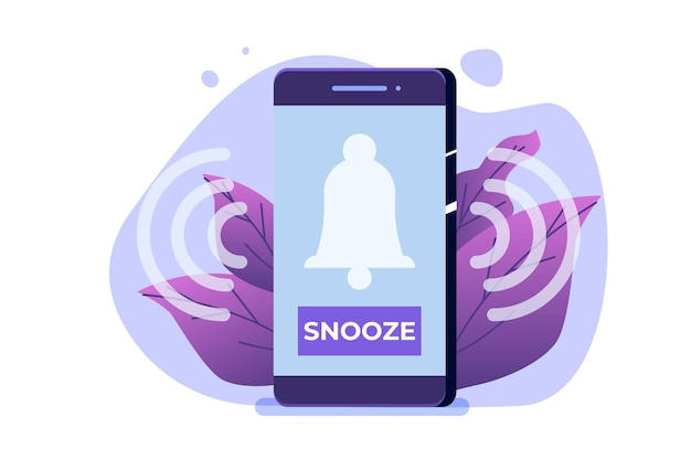 Smart phone alarm clock with snooze button