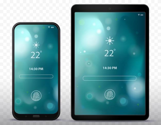 추상적 인 벽지 일러스트와 함께 스마트 폰 및 태블릿 컴퓨터 잠금 화면