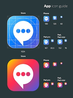 Smart phone app vector mobile os icon templates with guidelines. user guide app web icon, mobile application button illustration