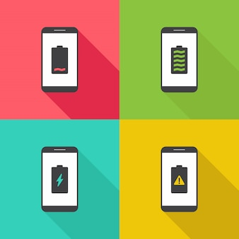 Smart phone battery notification flat design illustration
