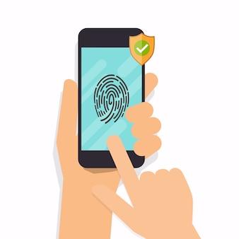 Smart phone fingerprint security access.   modern  illustration concept.