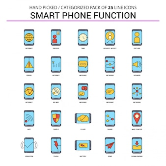 Smart phone functions flat line icon set